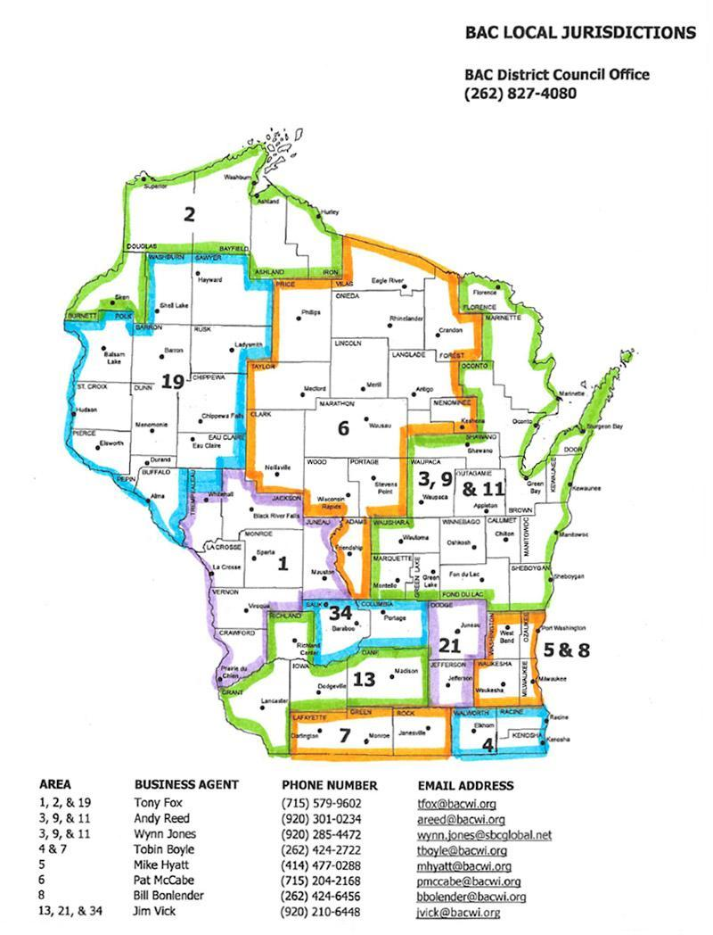 Map of Locals in the State of WI